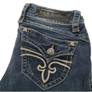 """ROCK REVIVAL """"Stephanie"""" Boot-Cut Stretch Jeans 27"""